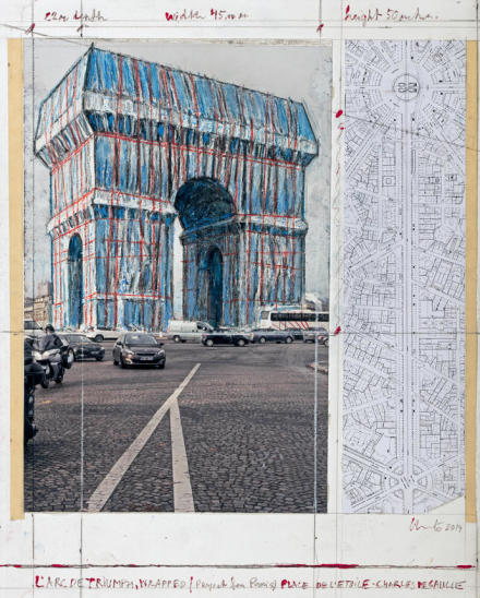 Christo, L'Arc de Triumph, Wrapped (Project for Paris) Place de l'Etoile - Charles de Gaulle, Photo André Grossmann © 2019 Christo