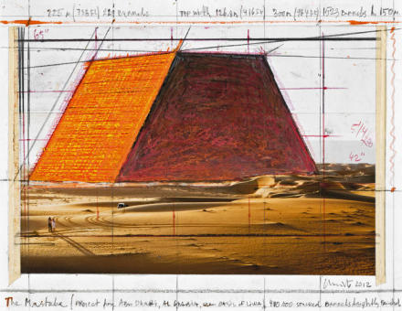 Christo, The Mastaba (Project for Abu Dhabi, Al Gharbia, near Oasis of Liwa) (2012), Photo André Grossmann © 2012 Christo