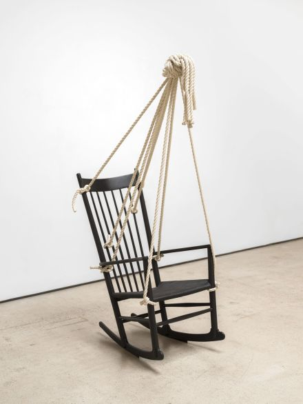 Ricky Swallow, Rocking Chair with Rope (Meditation #1) (2020), via David Kordansky