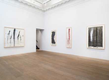 Pat Steir, Waterfall Paintings on Paper (Installation View), via Levy Gorvy