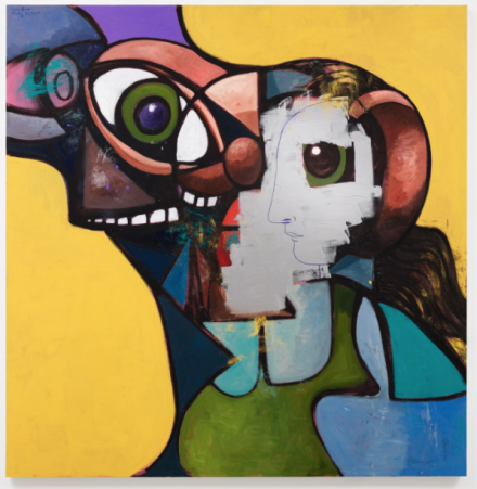 George Condo, Father and Daughter with Face Mask (2020), via Hauser & Wirth