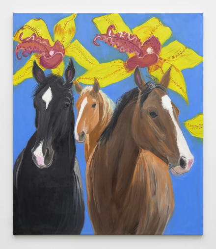Ann Craven, Horses Three (on Blue, with Orchids), 2021, 2021, via Karma