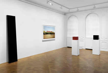 William Eggleston and John McCracken, True Stories (Installation View), via David Zwirner