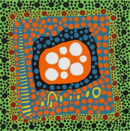 Yayoi Kusama, On Hearing the Sunset Afterglow's Message of Love, My Heart Shed Tears (2021), via Victoria Miro