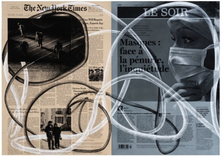 Tatiana Trouvé, March 23rd, The New York Times, USA Le Soir, Belgium from the series From March to May (2020), via Gagosian